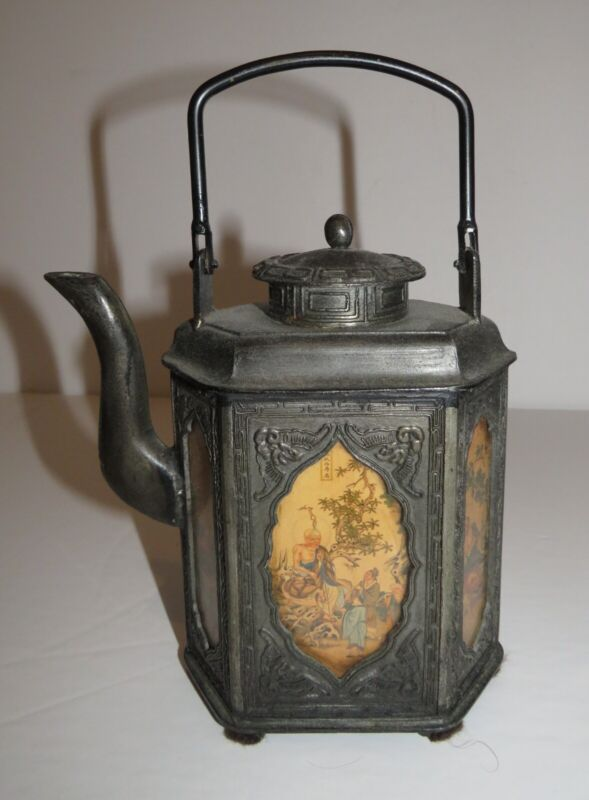 Chinese Antique Pewter Panel Teapot