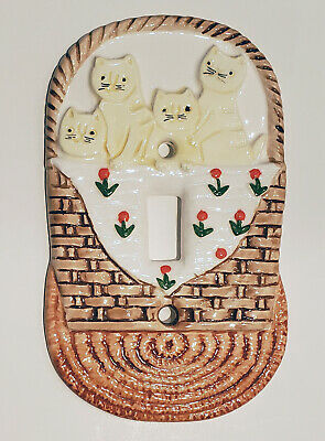 Takahashi Four Kittens in a Basket ceramic switchplate