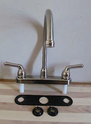 Kitchen Sink Faucet Plastic Gooseneck Brushed Nickel Color RV Camper Motorhome