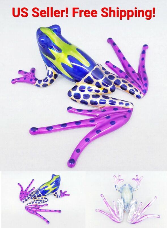 Purple Frog Glass Hand Blown Figurine Animal Amphibian Sea Art Miniature Decor