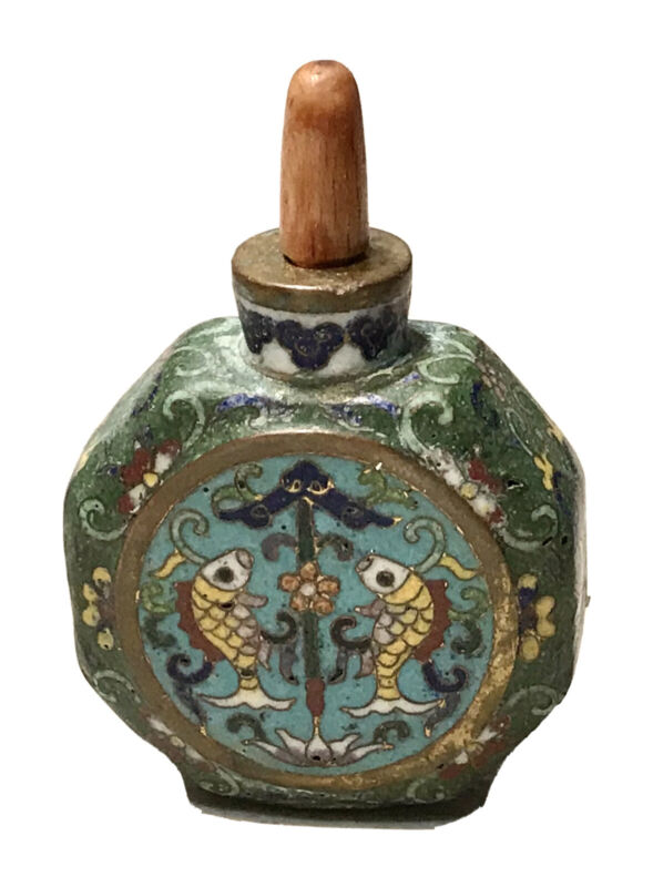 Vintage Antique Chinese Carved Stone Hand Painted Glass Perfume Snuff Bottle Old