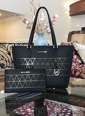 NWT,MICHAEL KORS JET SET TRAVEL MD CARRYALL LEATHER BLACK TOTE HANDBAG+WRISTLET
