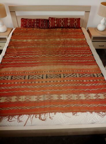 VINTAGE c1940 ZAIANE Tribal MOROCCAN Sumak flat weave hand woven tent rug nomad