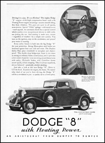 1933 woman driving Dodge 8 convertible coupe car vintage art print ad ads51