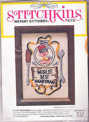 Crewel Embroidery Kit:  World's Best Handyman 5 x 7 Can be