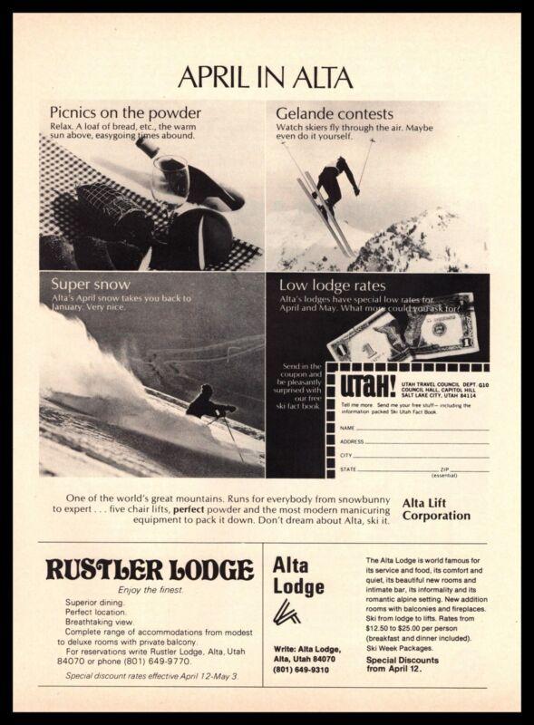 1970 April In Alta Utah Ski Resort Area Rustler And Alta Lodge Vintage Print Ad