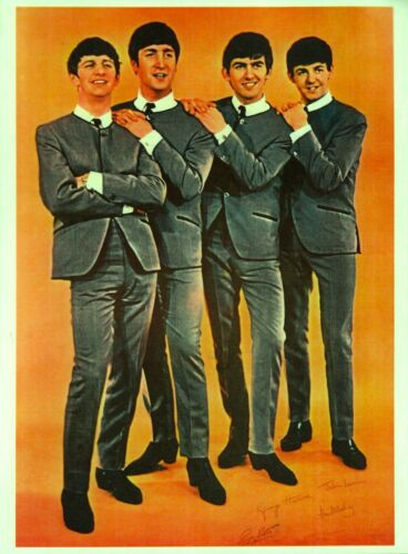 BEATLES 1964 ORIGINAL VINTAGE PROMO POSTER / JOHN LENNON / PAUL McCARTNEY / EX
