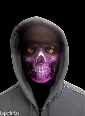Lila Sensenmann Gruselig Halloween Neuheit Lycra Gewebe Gesichtsmaske (Kostüm Lycra Gewebe)