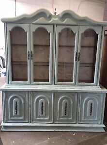 Large solid wood antique hutch/display cabinet