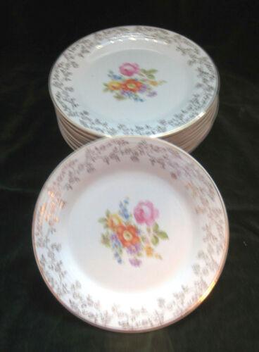 Set of 10 Limoges Salad Plates Meissen Rose 22K Gold Filigree Triumph Vintage