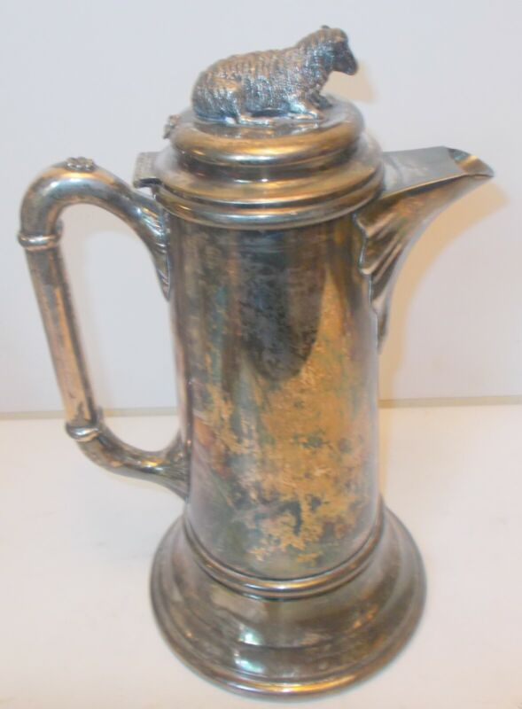 RARE Antique Silver Plate LAMB  Sheep PITCHER Jug  Schmidt Quadruple Plate