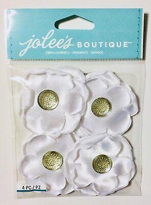 (Jolee's White Gem Flower Florals Dimensional Scrapbook Sticker Embellishments)