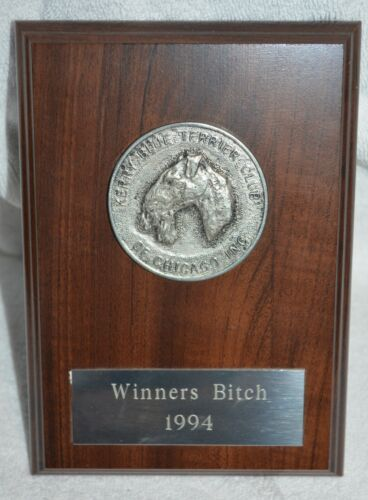 KERRY BLUE TERRIER CLUB  AWARD chicago Winners Bitch 1994 DOG  plaque