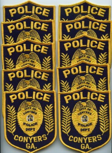 old style CONYERS GEORGIA Patch Lot Trade Stock 10 Police Patches POLICE PATCH