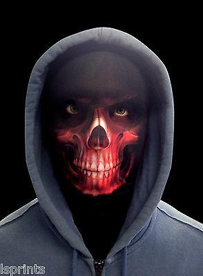 ScaryHalloween Face Mask Horror Red Grim Reaper Fancy Dress Faceskin  - Halloween Grim Face