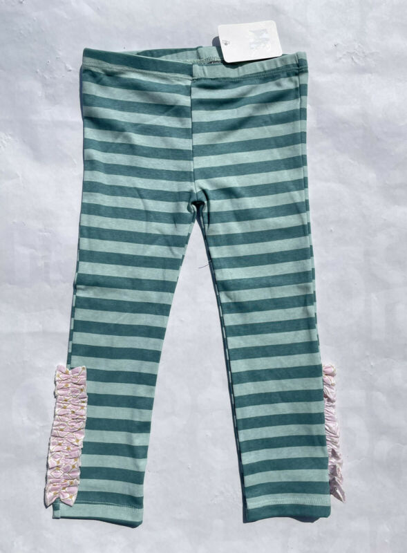 Giggle Moon girl's 2T blue striped pink ruffled leggings pants new