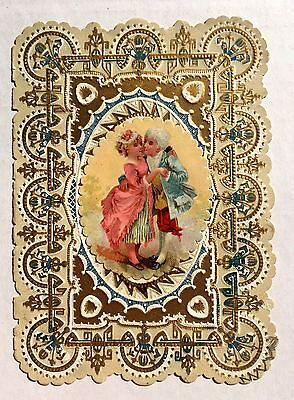 Vintage 1900 Valentine's Day Card w/ Kissing Colonial Style Couple