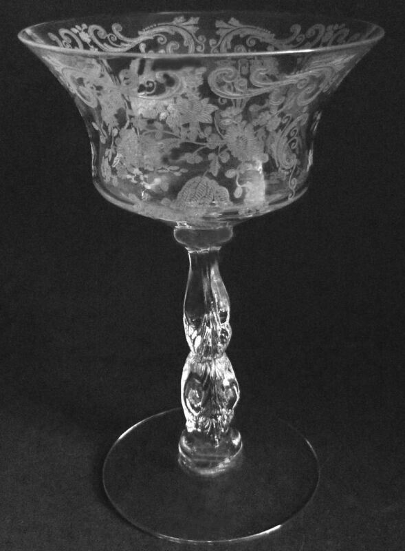 1950s Cambridge Glass Chantilly Etch 3625 7oz Tall Sherbet Or Cocktail Goblet /s