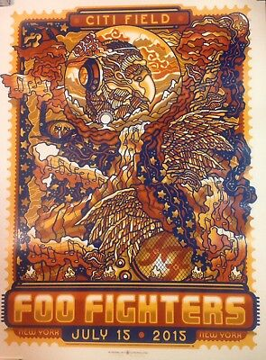 FOO FIGHTERS NY CITIFIELD 7/15/15 POSTER GUY BURWELL 144/330 NUMBERED CITI FIELD