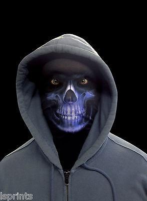 Blau Sensenmann Gruselig Halloween Neuheit Lycra Gewebe Gesichtsmaske (Kostüm Lycra Gewebe)