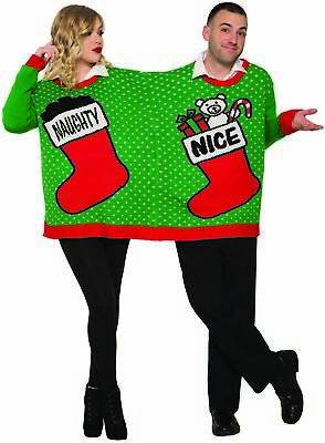 Ugly Christmas Sweater For 2 Holiday Party Adult Couples Naughty Or Nice - Ugly Christmas Sweaters For Couples