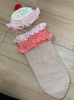 Newborn Baby Girl Photoshoot Dress Up Outfit Knitted Ice Cream Cute