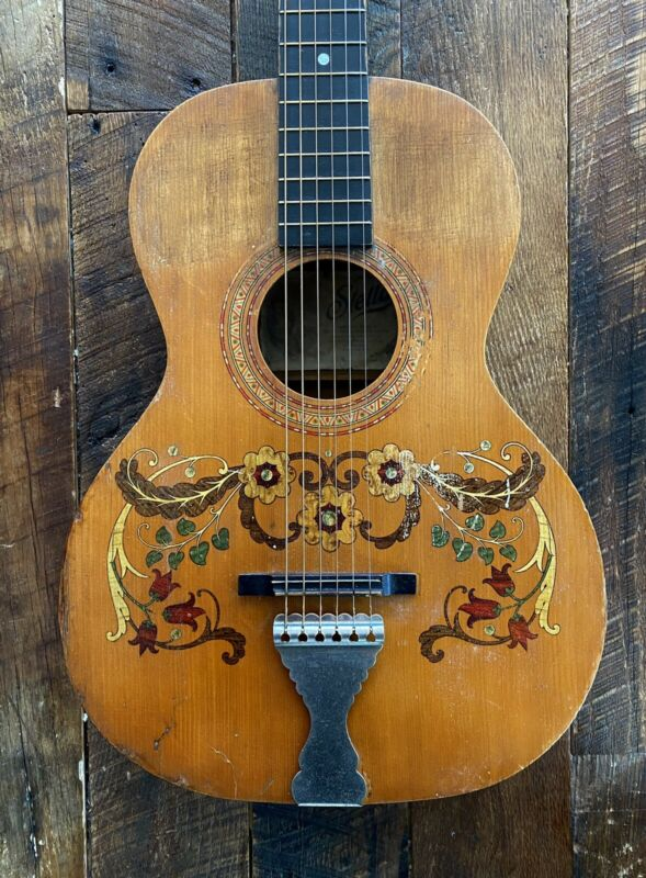 1930s Stella (Oscar Schmidt) Decalcomania Parlor Guitar