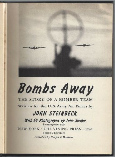 Bombs Away by John Steinbeck 1942 First Edition School Army Air Military Edition