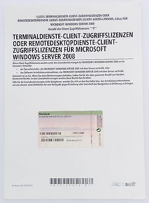 5 User / Benutzer CAL für Windows 2008 Terminal Server / RDS Remote Desktop -