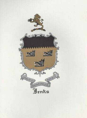 Great Coat of Arms Jenks Crest genealogy, would look great framed!