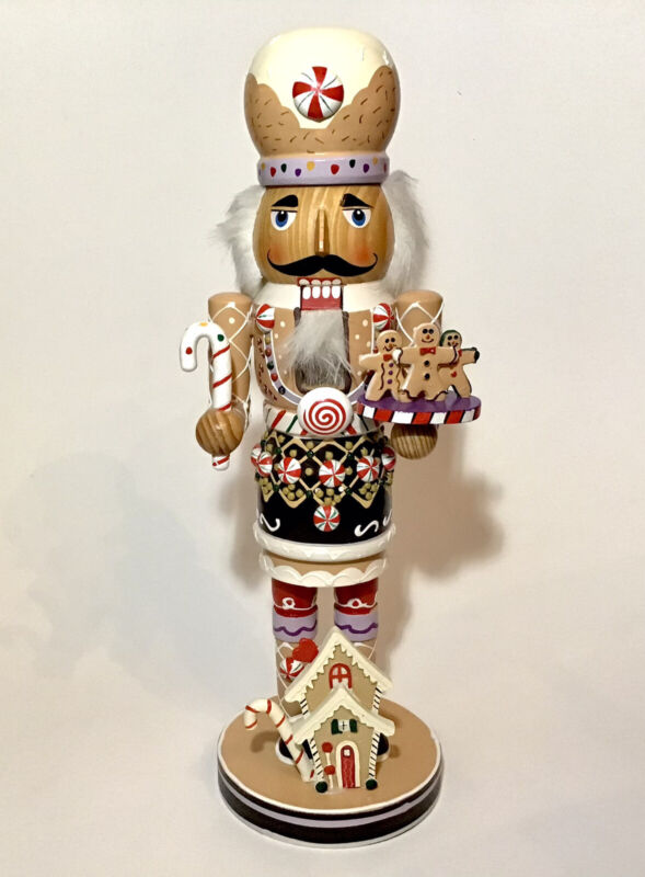 """VTG Nutcracker Ginger Bread Baker Peppermint Candy Wooden 16""""H Christmas"""
