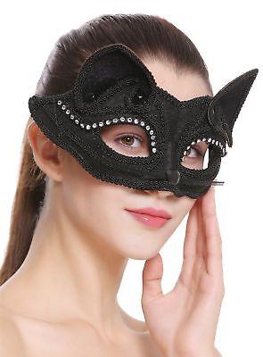 Halloween Karneval Maske Halbmaske Augenmaske Katze schwarz Maskenball BB-002