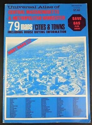 Universal Atlas Central Massachusetts & Metropolitan Worcester 1st Edition 1984