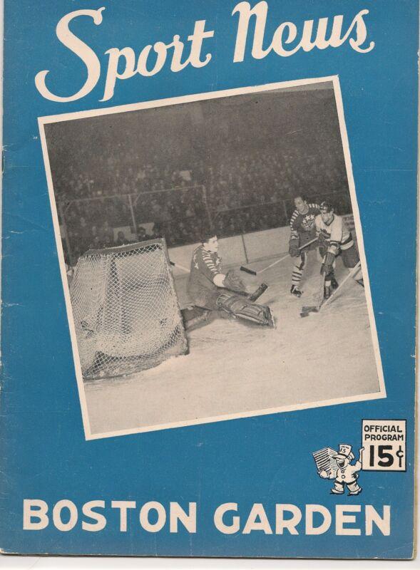 1942-43 Boston Bruins-Black Hawks Program B's Win Wild One!!