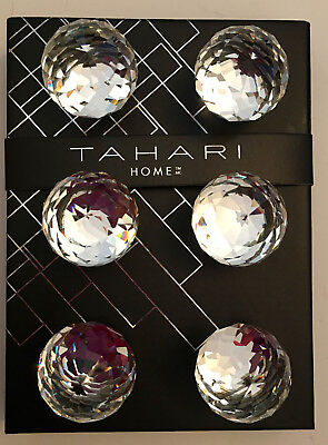 TAHARI Mirrored Crystal Glass ROUND FACETED Drawer Knobs. Set - 6.  NIB. SILVER (Tahari Round Mirror)