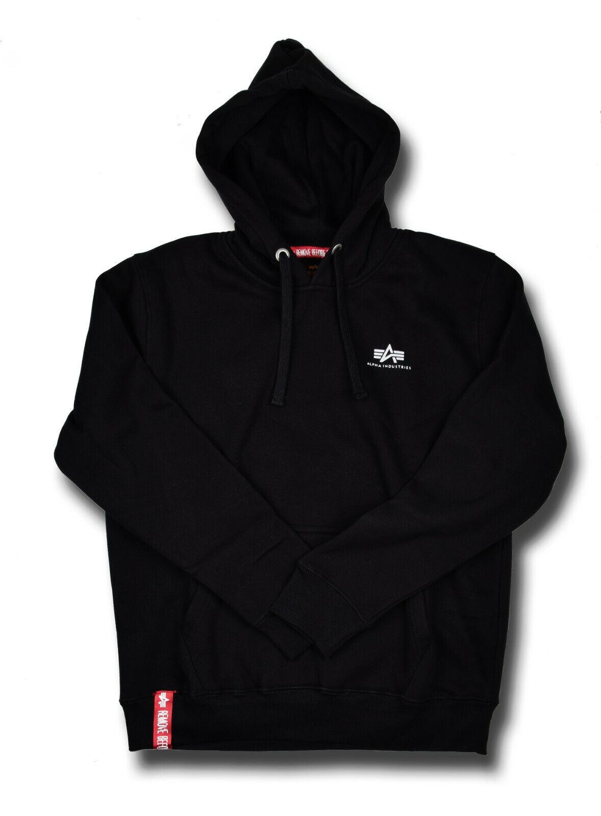 Details zu Alpha Industries Basic Hoody Kapuzenpullover Hoodie Pullover Schwarz Small Logo
