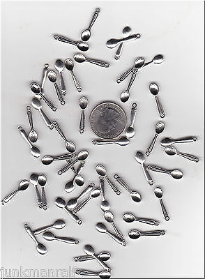 YOU GET 100  METAL SILVER TONE TABLE SPOON  CHARMS,   C 22 - FROM  U.S. SELLER.
