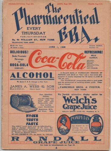 "1905 Color Magazine "" The Pharmaceutical Era ""  with Coca Cola & Cocaine Ads"