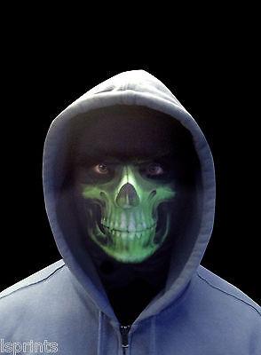 Grün Sensenmann Gruselig Halloween Neuheit Lycra Gewebe Gesichtsmaske (Kostüm Lycra Gewebe)