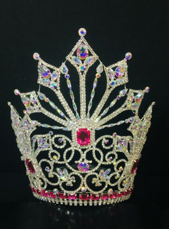 Rhinestone Large Pageant Crystal Crown Tiara Drag Queen 10 inch USA SELLER