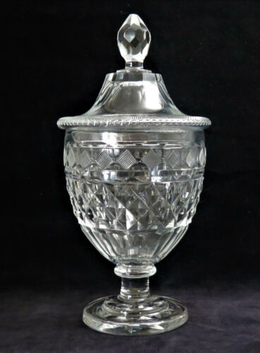 ANTIQUE CUT & ENGRAVED GLASS COVERED SWEETMEATS JAR