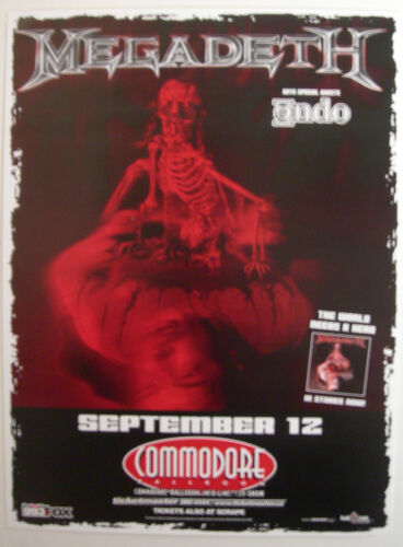 MEGADETH CONCERT POSTER 2001 THE WORLDS NEEDS A HERO