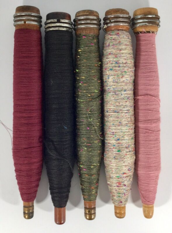 Vtg Wooden Bobbins With Thread/Yarn Assorted Colors S/5 Lot 3