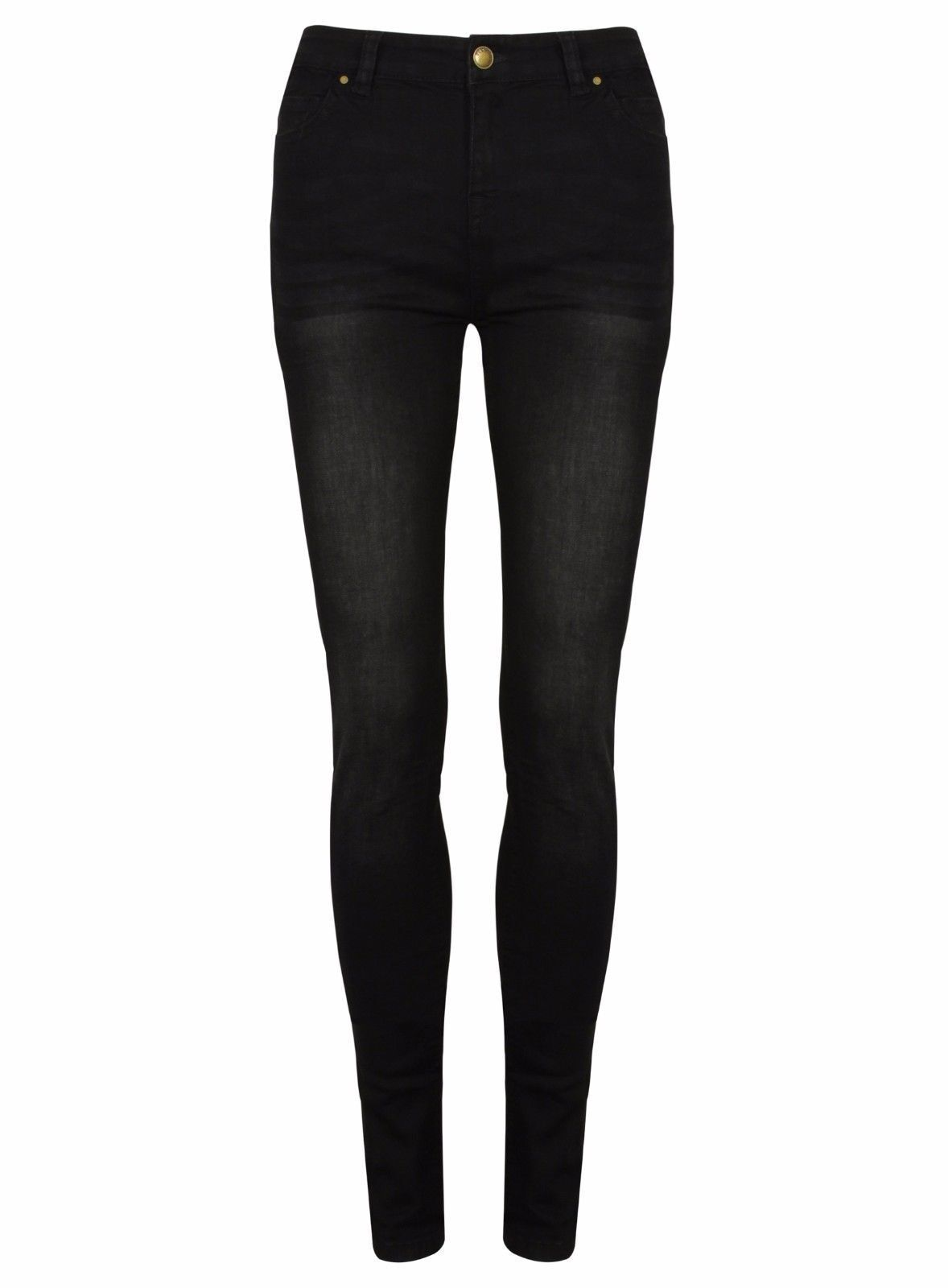 Ex Womens NEW LOOK Black Super Skinny Washed Jeans Size 10-18