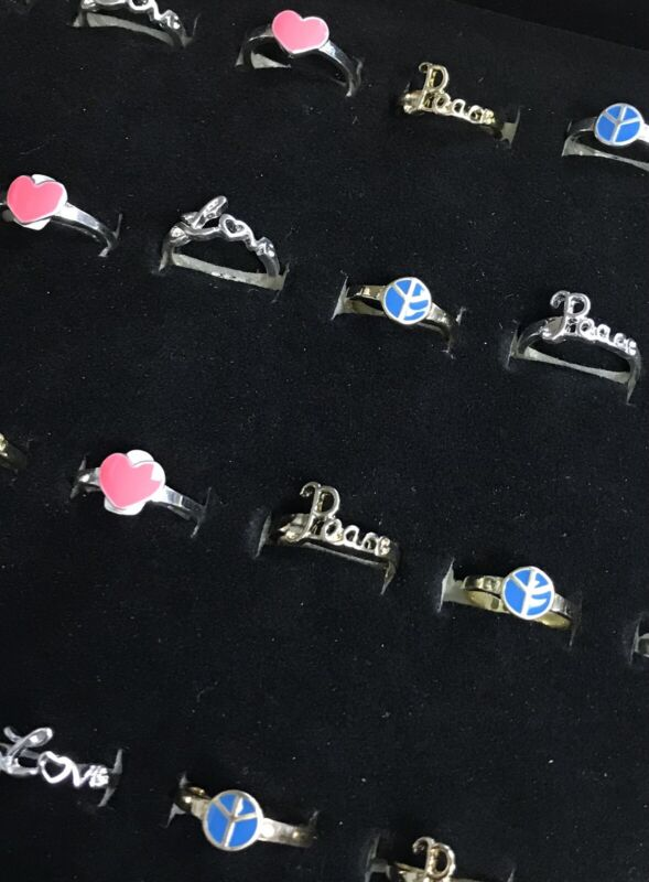 24 Love & Peace Reversable Rings Gold Silver Wholesale Jewelry Lot