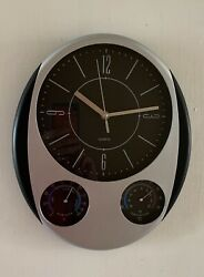 Indoor Outdoor Wall Clock Thermometer Quartz Patio Home Silver Black