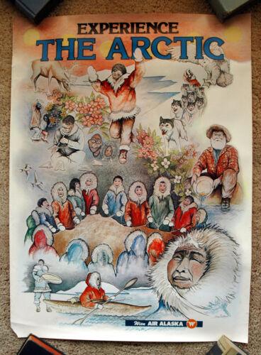 Vintage Original 1970s WIEN AIR ALASKA Travel Poster ski art airline train Artic