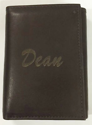 Personalized Mens Black Leather Trifold Wallet-Engraved Free-Economy Version