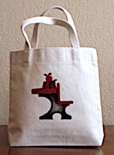 """canvas tote """"mini"""" hand stenciled folk art design """"School De"""