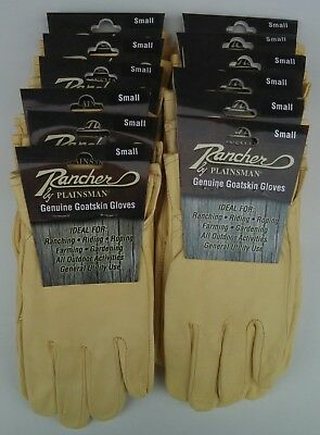 Rancher By Plainsman 12 Pairs Goatskin Leather Wholesale Work Gloves Small New
